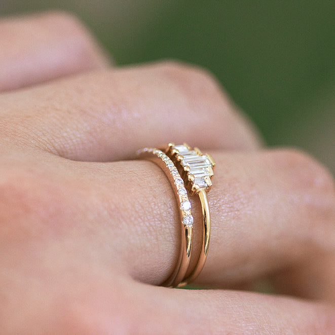 Baguette Diamonds Bridal Ring Set on Hand Up Close