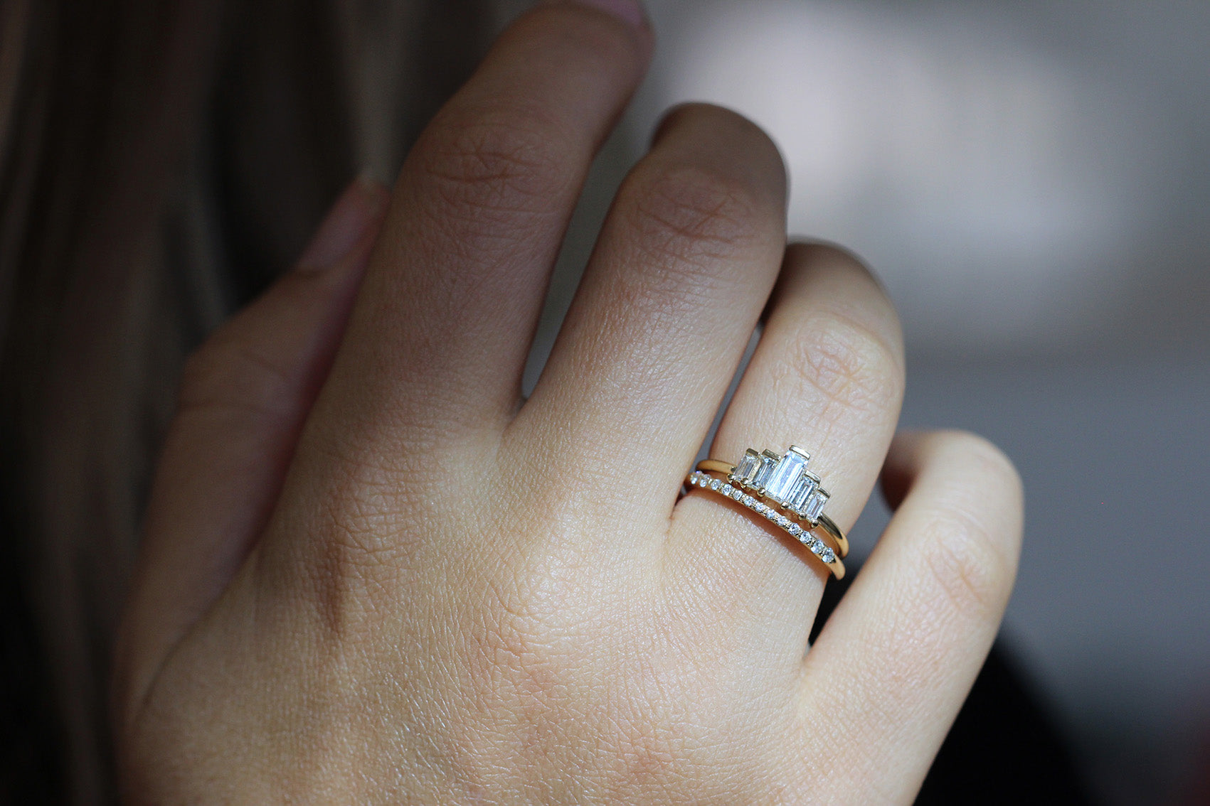 Close Up Of Baguette Engagement Ring
