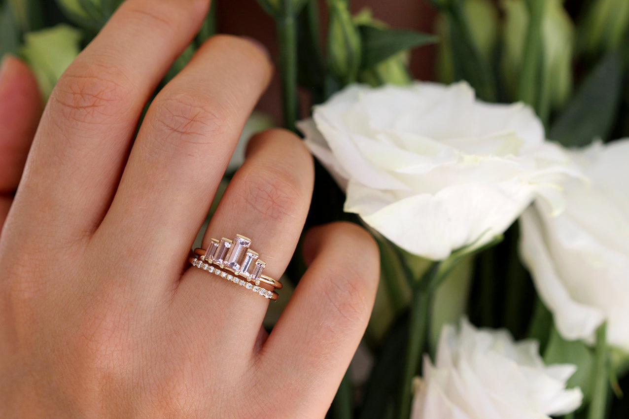 Baguette-Morganite-Engagement-Ring-In-A-Set