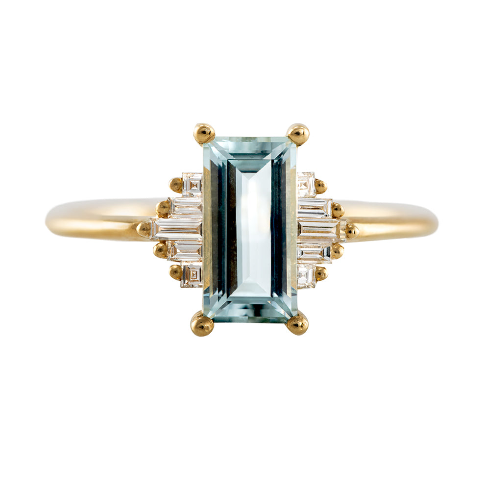 Baguette Cut Aquamarine Ring with Diamonds