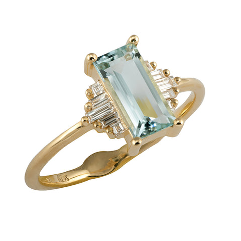 Baguette Cut Aquamarine Ring with Diamonds Close Up
