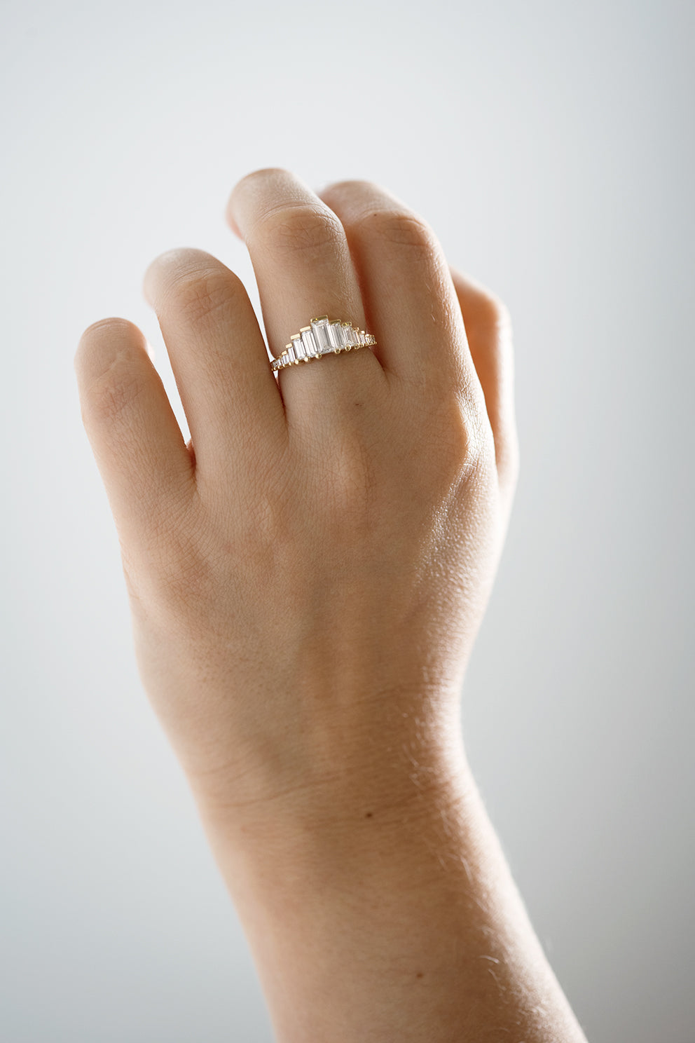 Baguette Cut Diamond Ring on Hand