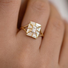 Baguette Cut Engagement Ring - Baguette Temple Ring on Hand Detail Shot