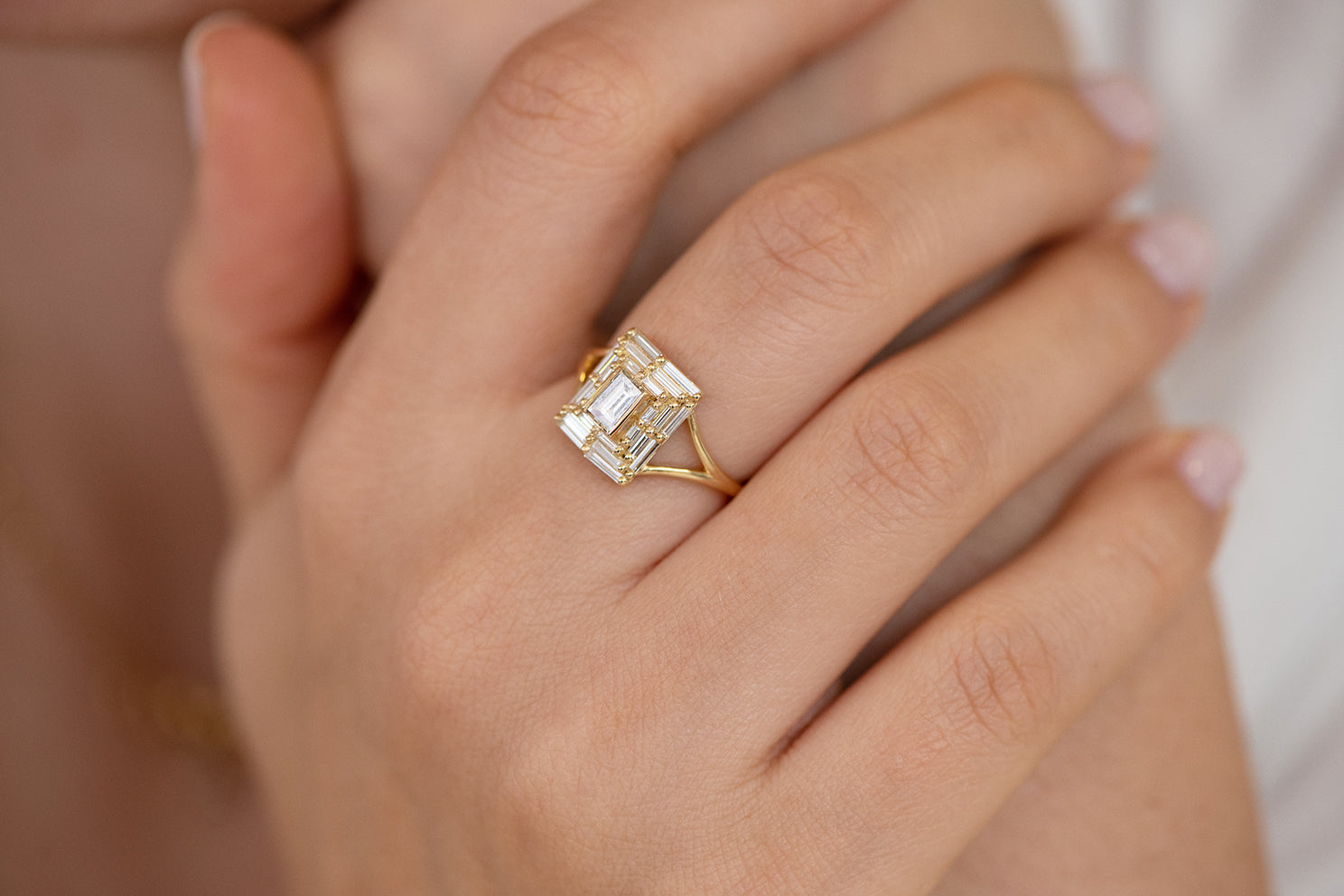 Baguette Cut Engagement Ring - Baguette Temple Ring on Hand Side View