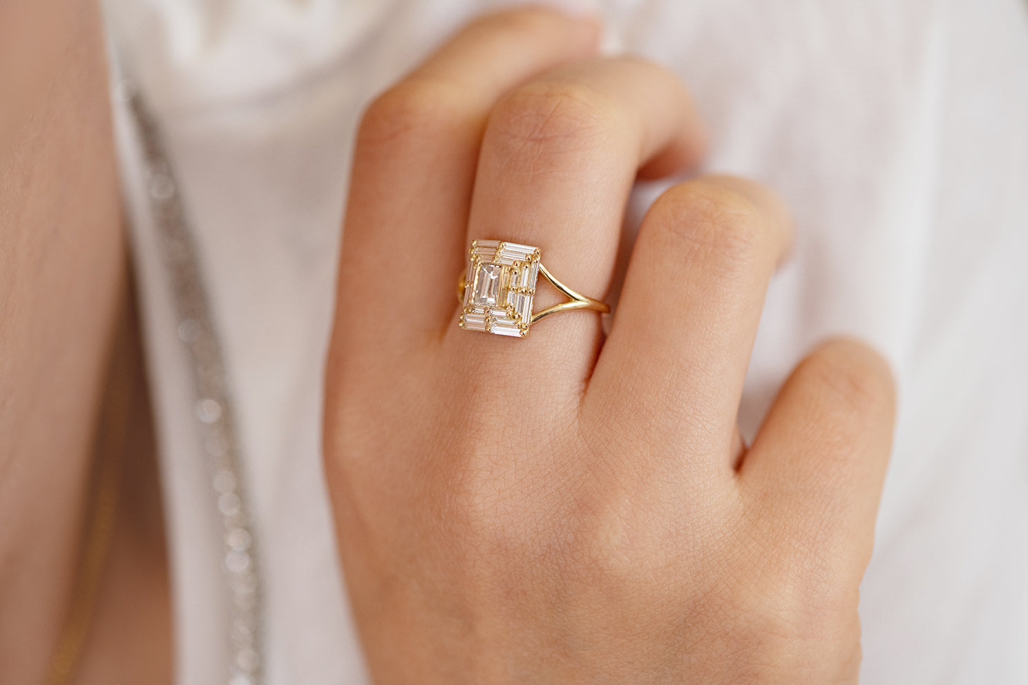 Baguette Cut Engagement Ring - Baguette Temple Ring on Hand Up Close on Hand