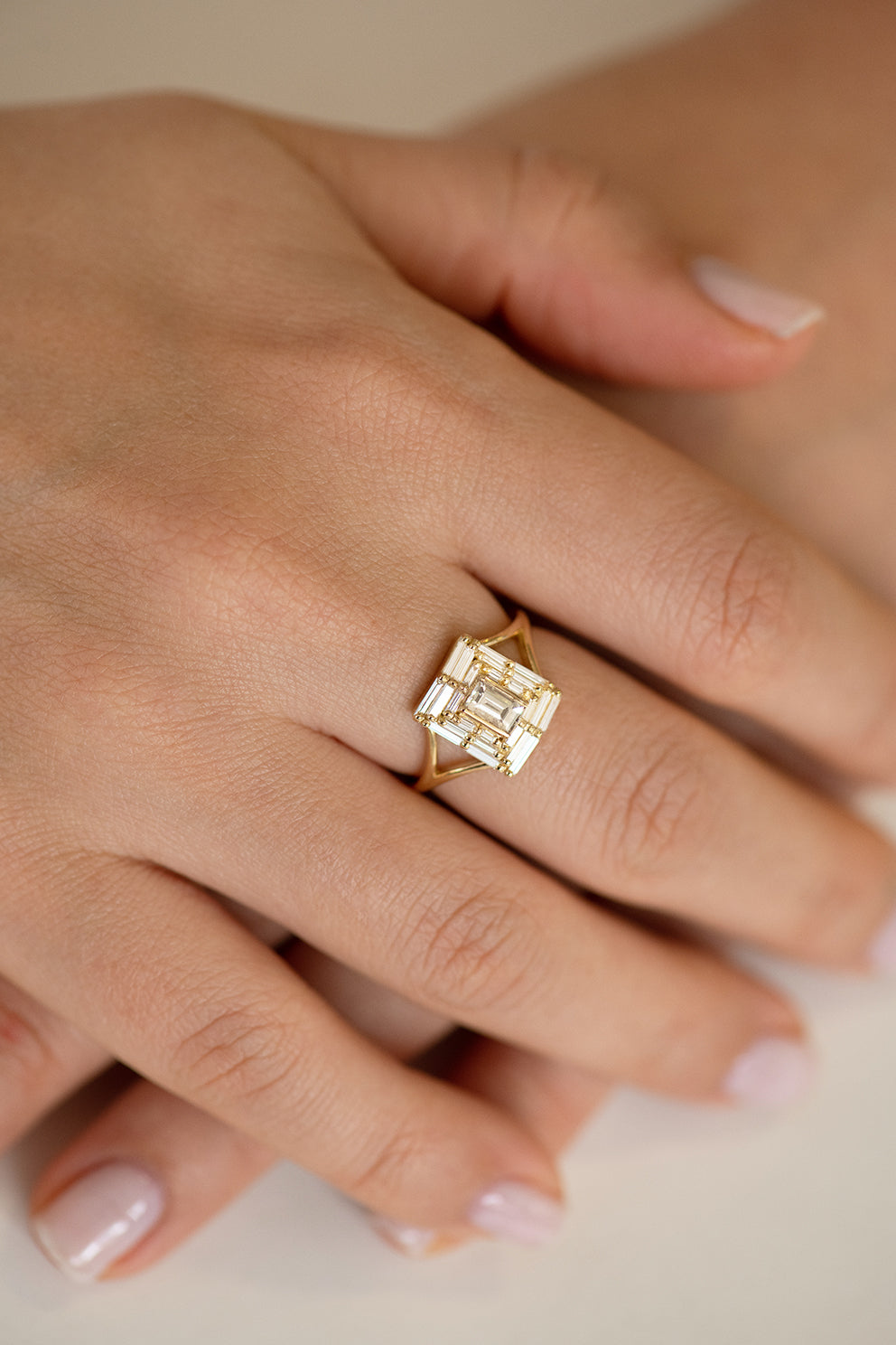 Baguette Cut Engagement Ring - Baguette Temple Ring on Hand Looking Down Front Shot