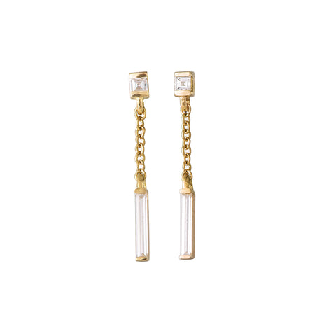 Baguette Diamond Drop Earrings on White