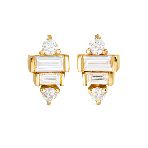 Baguette Diamond Earrings on White