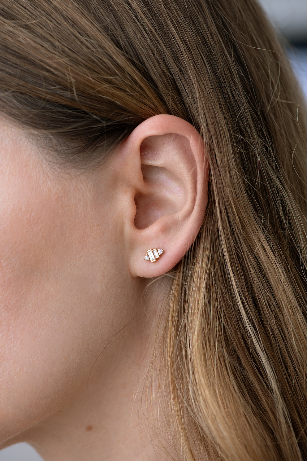 Baguette Diamond Earrings on Ear Alternate View