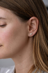 Baguette Diamond Earrings on Ear