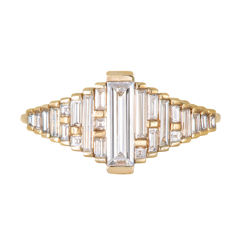 Baguette Diamond Ring with Gradient Diamonds and Gold Details