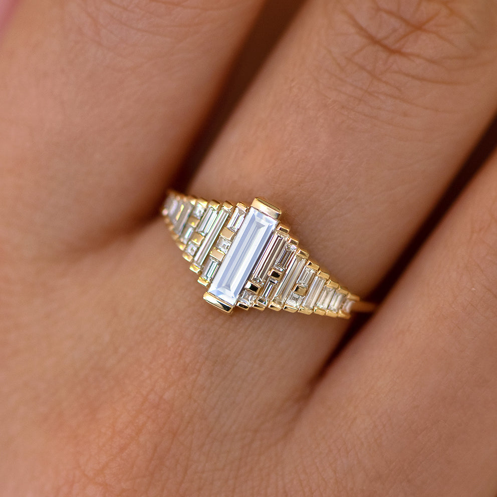 Baguette Diamond Ring with Gradient Diamonds and Gold Details on Hand up close detail view