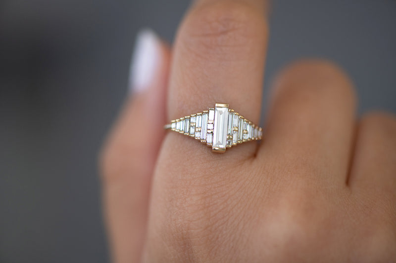 Baguette Diamond Ring with Gradient Diamonds and Gold Details on Hand detail shot