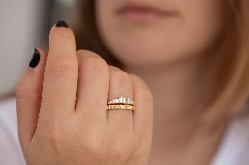 Baguette Diamond Wedding Ring Set on Hand Other Angle