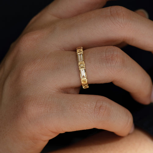 Baguette and Round Diamond Band -  OOAK Champagne Diamond Wedding Ring Detail Shot on Hand