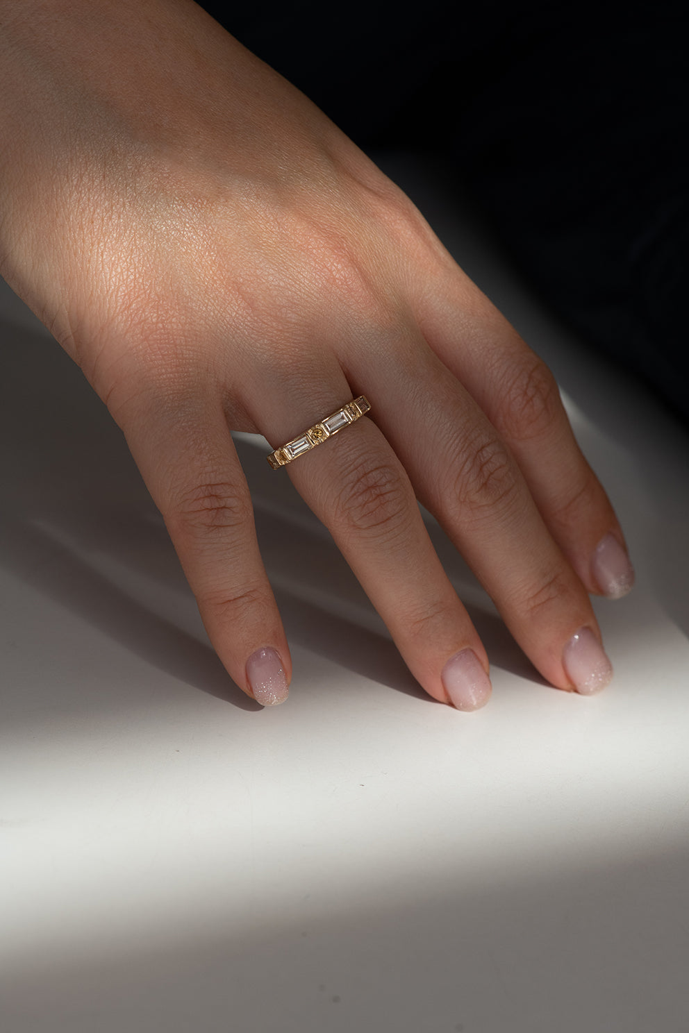 Baguette and Round Diamond Band -  OOAK Champagne Diamond Wedding Ring on Hand in Shadow