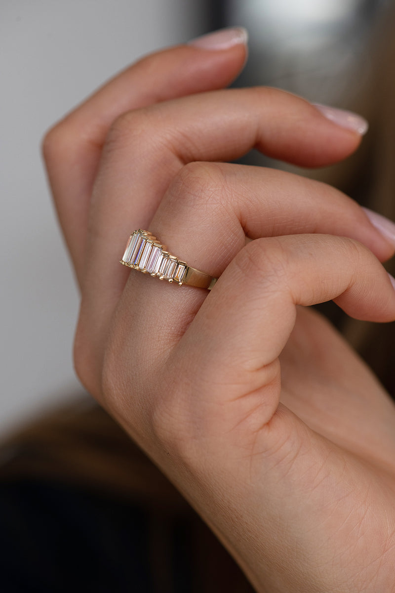 Bespoke Baguette Diamond Ring - OOAK on Hand Up Close Side Angle