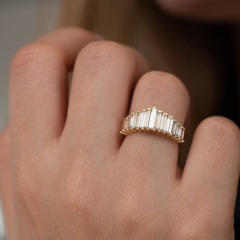 Bespoke Baguette Diamond Ring - OOAK on Hand Up Close