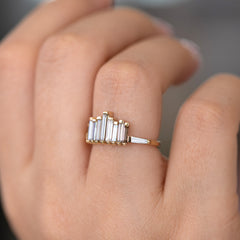 Bespoke Engagement Ring with Tapered Baguette Cut  Light Brown Diamonds of finger