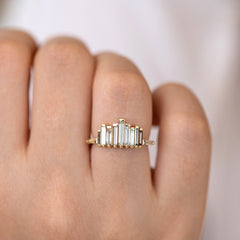 Bespoke Engagement Ring with Tapered Baguette Cut  Light Brown Diamonds on hand