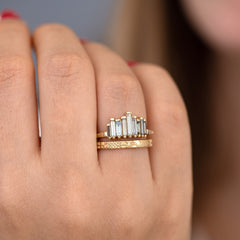 Bespoke Engagement Ring with Tapered Baguette Cut  Light Brown Diamonds with band