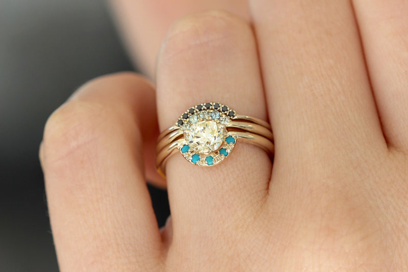 Blue Sapphires Tiara Band on finger