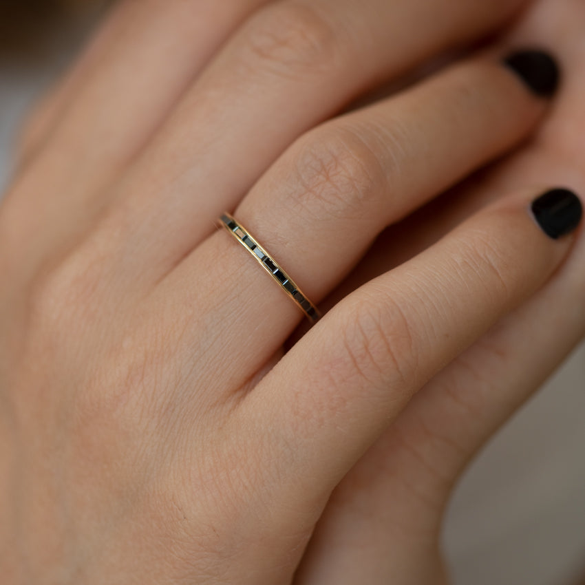 Black-Baguette-Diamond-Eternity-Ring-Black-Wedding-Band-front