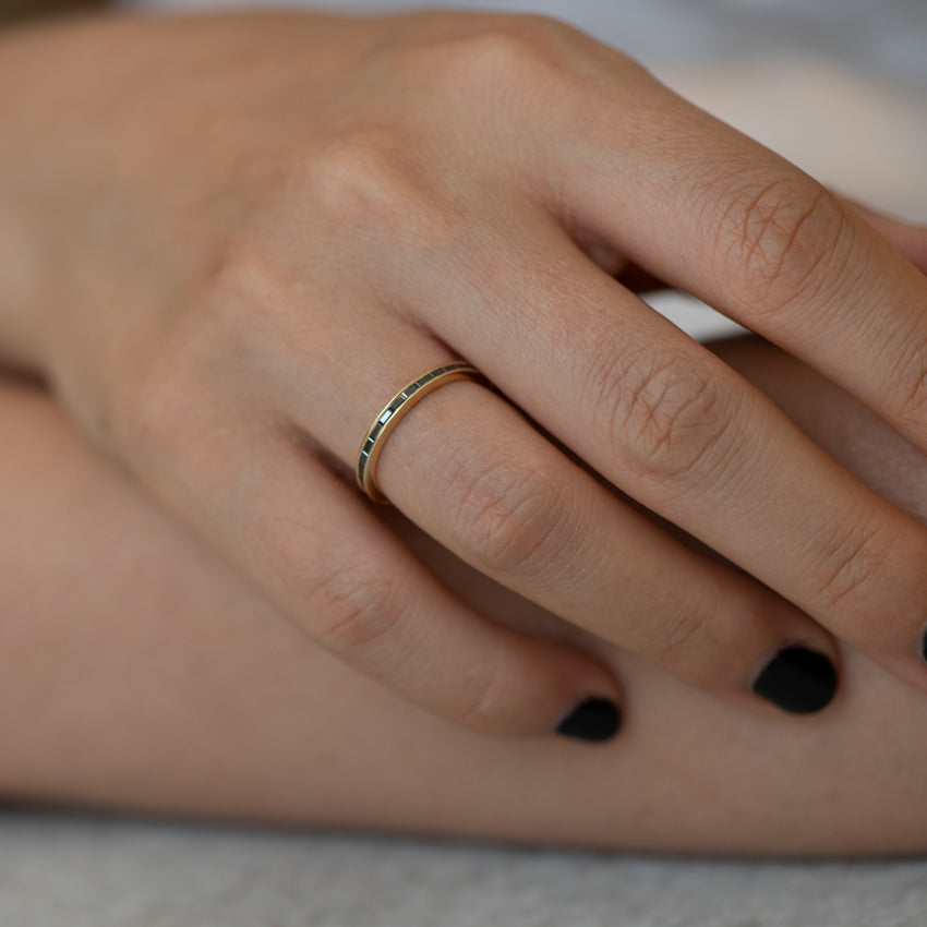Black-Baguette-Diamond-Eternity Ring-Black-Wedding-Band-on-finger