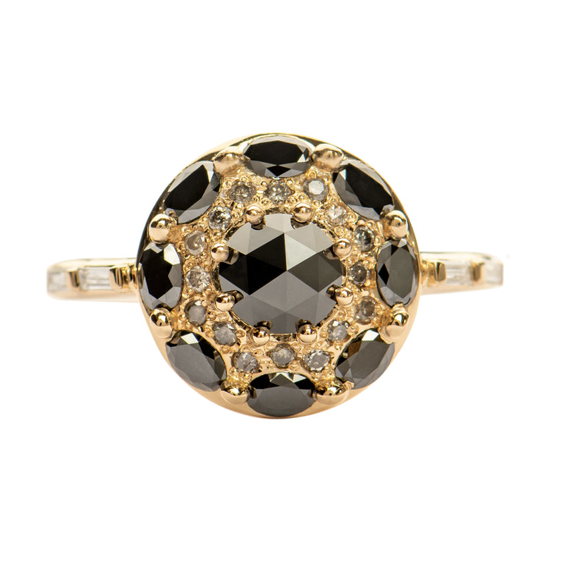 Black-Diamond-Mandala-Engagement-Ring-With-Baguette-Diamond-Band-closeup