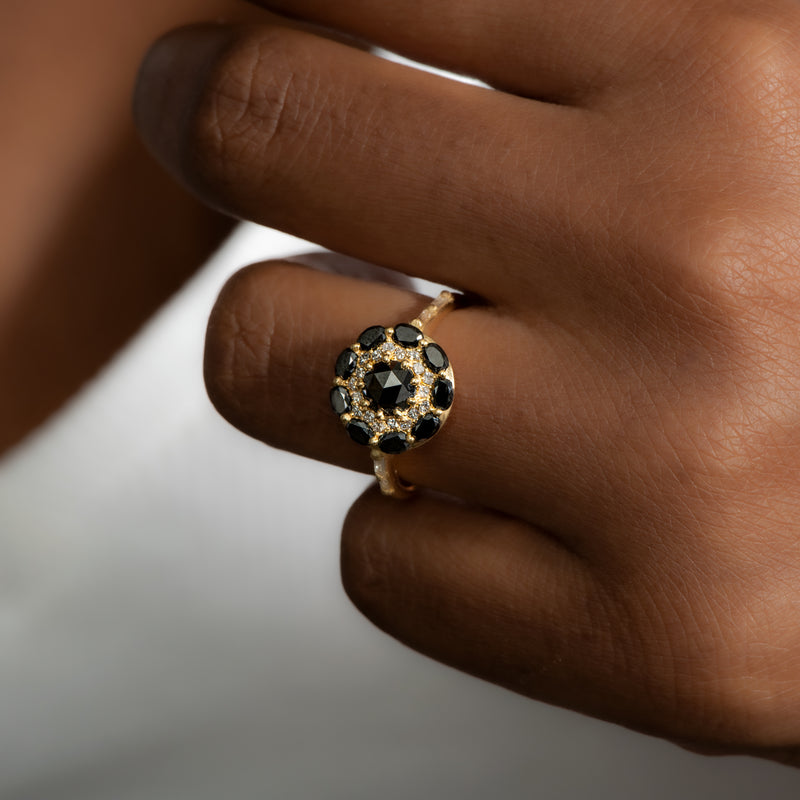 Black-Diamond-Mandala-Engagement-Ring-With-Baguette-Diamond-Band-shiny