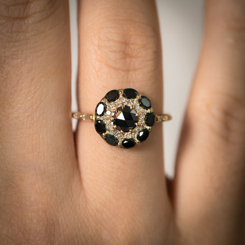 Black-Diamond-Mandala-Engagement-Ring-With-Baguette-Diamond-Band-top-shot