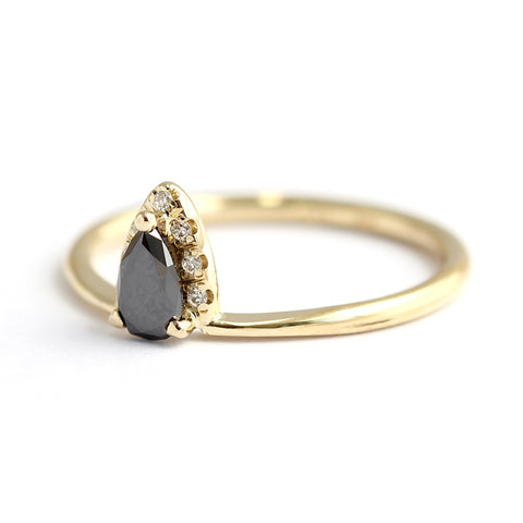 Black Diamond Pear Engagement Ring With White Diamond Accents