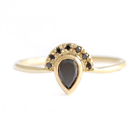 Black Pear Diamond Engagement Ring with Half Diamond Halo on white front view