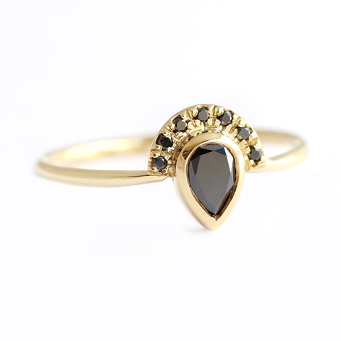 Black Pear Diamond Engagement Ring with Half Diamond Halo on white side view