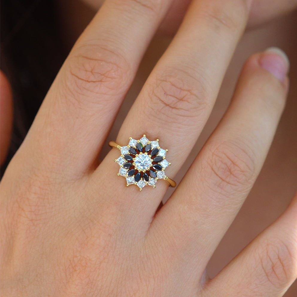 Black and White Diamond Engagement Ring - Flower Diamond Cluster Ring Front View on Hand