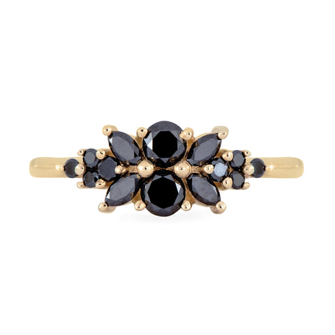 Black Diamond Flora Engagement Ring