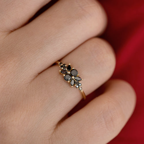 Black Diamond Flora Engagement Ring on Hand Detail Shot