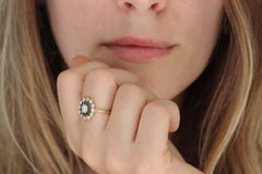 Black and White Diamond Engagement Ring - Flower Diamond Cluster Ring on Hand Side View