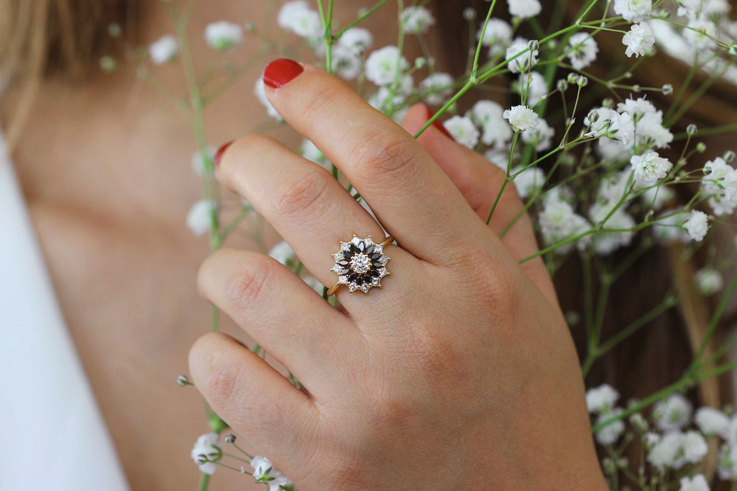 Black and White Diamond Engagement Ring - Flower Diamond Cluster Ring on Hand with White Flowers