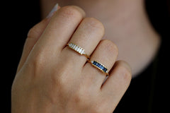 Blue Sapphire Baguette Engagement Ring In A Set