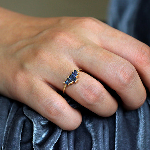 Blue Sapphires Baguette Couneau de l'engagement de bague-Blue Sapphire Ring