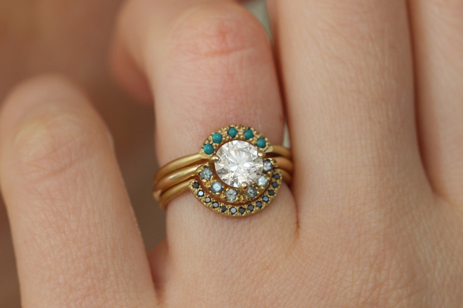 wedding promise turquoise oval with gold ring engagement il anniversary band cut rings rose sets diamond and