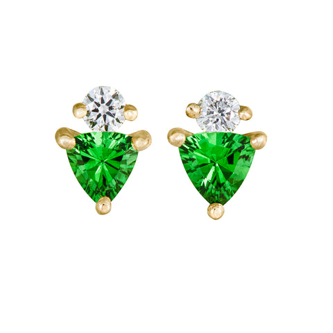 Bright Green Tsavorite Stud Earrings with Diamonds