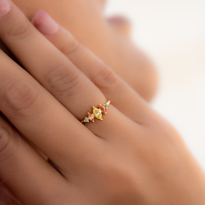 Candy-Colored-Engagement-Ring-with-a-Fancy-Yellow-Diamond-OOAK-on-finger