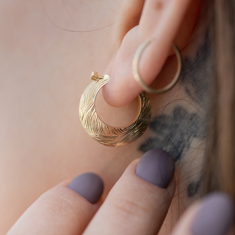 Carved-Bohemian-Hoop-Earrings-in-Solid-Gold-side-shot