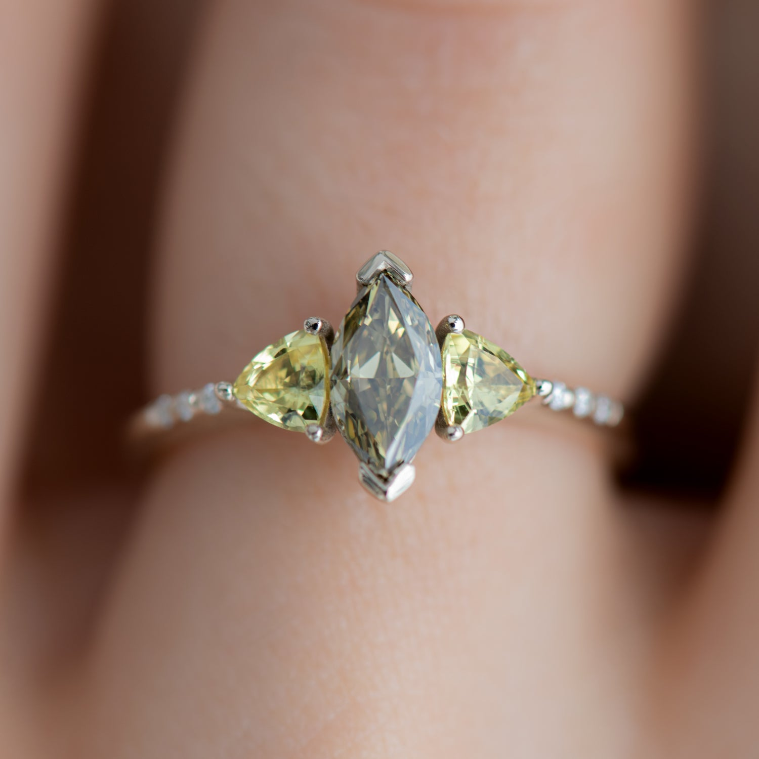 Chameleon Marquise Engagement Ring With Yellow Sapphires Ooak Artemer