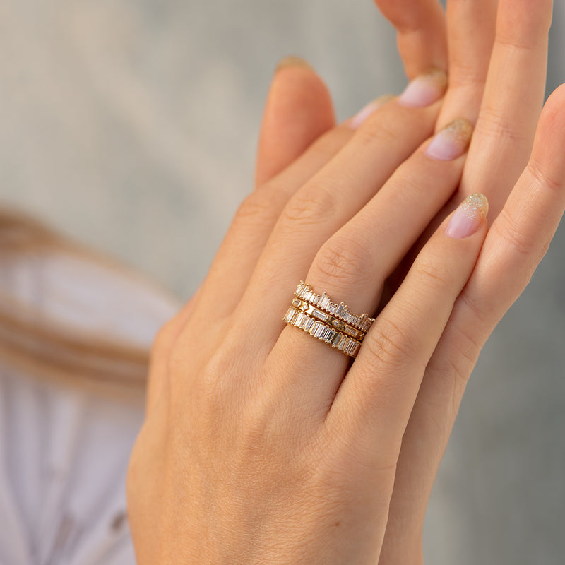 Cityscape-Eternity-Ring-with-Needle-Baguette-Diamonds-set-in-finger