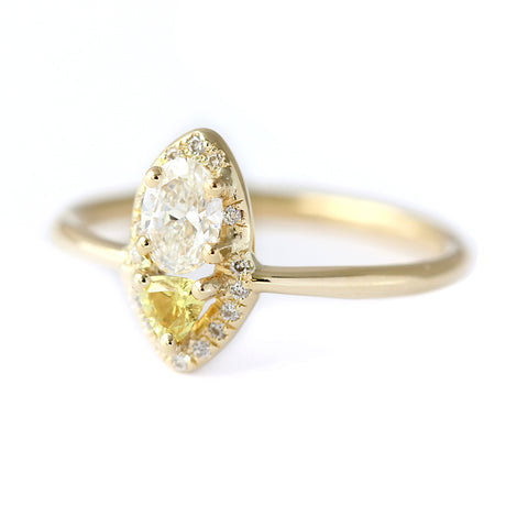 Side Angle of Cluster Diamond Ring with Yellow Sapphire