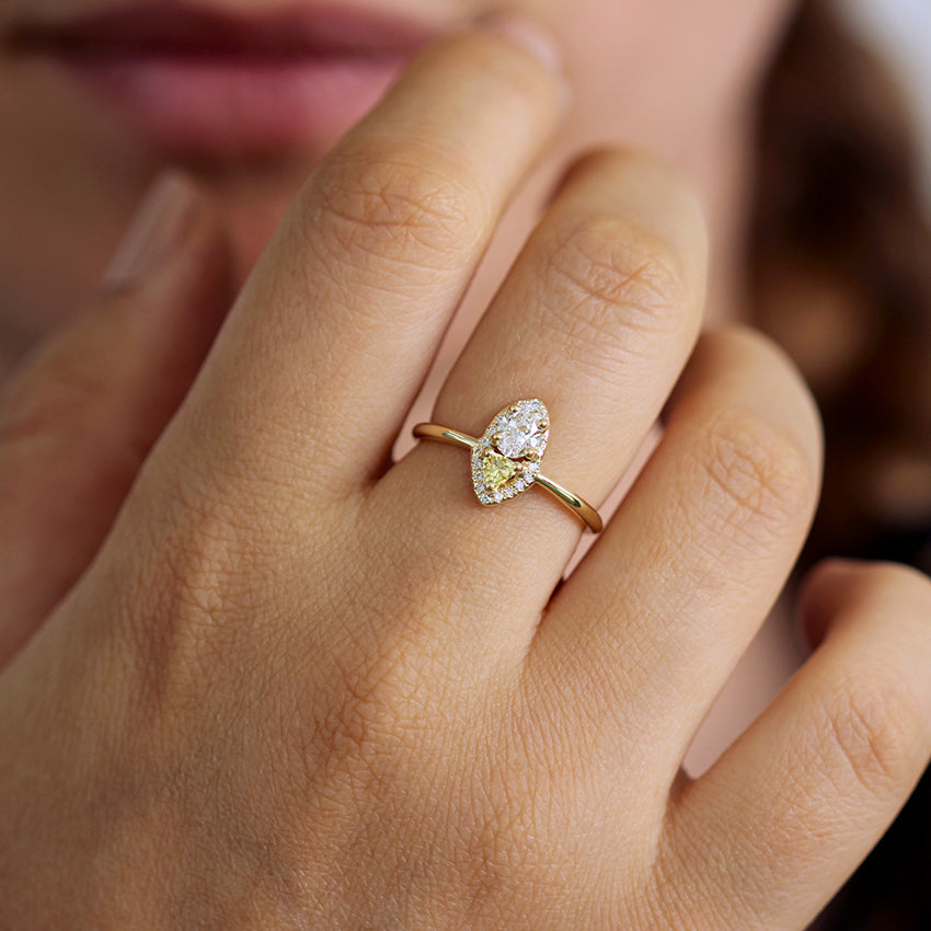 Cluster Diamond Ring with Yellow Sapphire on hand