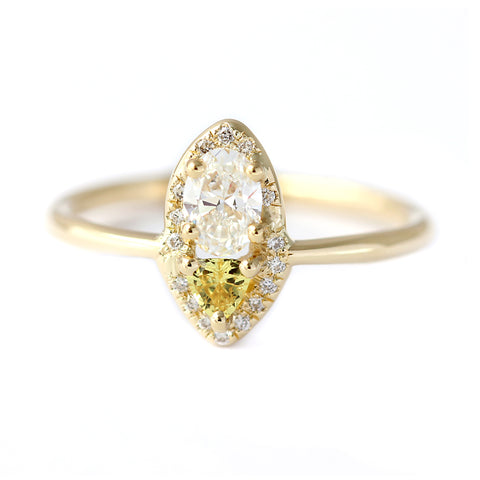 Cluster Diamond Ring with Yellow Sapphire